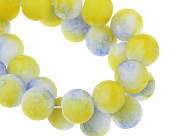SALE Glass Beads 10mm Yellow and Blue - Rubberized - 1 Strand - Ships IMMEDIATELY  from California - B998