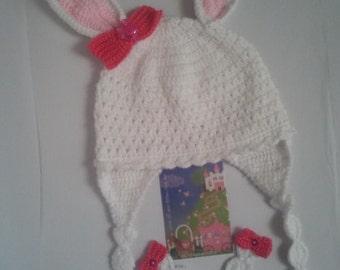SALE Crochet newborn baby girl bunny hat Crochet snuggle bunny hat Crochet baby rabbit hat Crochet Easter bunny hat