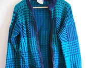 1980s Houndstooth Jade Green and Blue Oversize Cardigan - Size 12 to 14