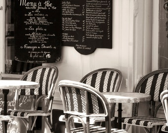 Paris Photography - Sidewalk Cafe, Black and White, Menu and Cafe Chairs, Home Decor, French Kitchen Wall Art