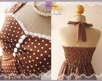 SALE-Brown Bridesmaid Dress Brown Dress Summer Dress Tea Length Dress Polka Dot Dress Party Dress Once Upon A Time -Size S