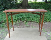 Antique Collapsible Folding Sewing Table with Ruler