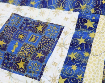 CLEARANCE SALE Christmas Quilted Table Topper or Wall Hanging, Blue, Cream & Gold