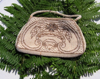 30s Deco Era Beaded Purse from Czechsslovakia White and Gold Glass Beaded with Pearls