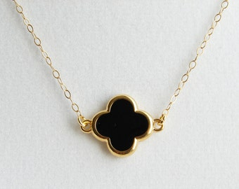 Small Black Clover Necklace. Simple Clover with Gold Colored Trim. 14K Gf Chain. Simple Everyday Jewelry by Smallbluethings