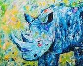 Blue Rhino,  Fine Art Giclee Print - enhanced with Acrylic  Paint  on Canvas Sheet from my original Painting - ebsq Artist Ricky Martin