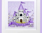 Personalized Princess Castle ~ Children's Wall Art ~ Personalized Art ~ Purple ~ Nursery Wall Art ~ Whimsical ~ Castle ~ Princess Room Art