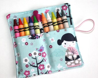 Crayon Rolls Party Favors, Kimono Girls fabric,  BIRTHDAY Party Favor Crayon wraps sleeves holders