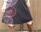 SALE - Size SMALL ONLY - seconds sale - black screen printed skirt
