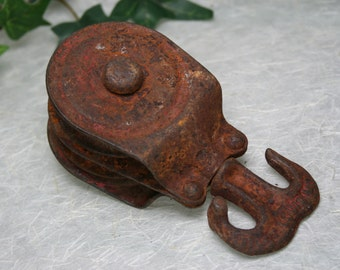 Vintage Industrial Pulley - Rusty Patina