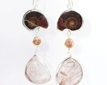 Ammonite Oregon Sunstone & Red Rutilated Quartz Wanga Talisman Earrings