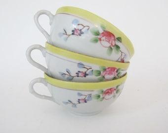 19th Century Hand Painted Japanese Floral Design Porcelain Tea Cups