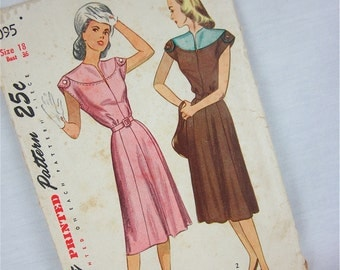 Vintage 40s Dress Sewing Pattern, Simplicity, 2095