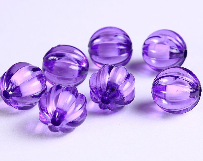 12mm Purple melon acrylic round lucite bead - miracle bead (1119) - Flat rate shipping