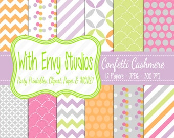 SALE  Pastel Rainbow Scrapbook Paper Pack - Chevron Digital Paper Pack - Polka Dot Paper Pack Pastel Papers - Commercial Use