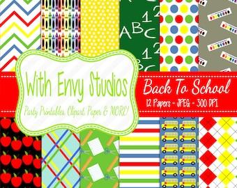 50% OFF Back To School Digital Scrapbook Paper Pack - School Digital Paper Pack,