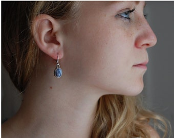 Artisan Earrings Blue Banded Agate Earrings Small Drop Earrings Banded Agate Jewelry Artisan Jewelry