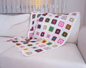 Handmade Crochet Baby Blanket / Baby Afghan multicolored white