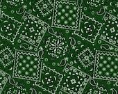 """EOB Clearance, 12"""" Fabric, Green Bandanna Fabric, Green Fabric, Bandanna Fabric, 00940"""