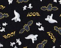 Ghost, Spooky Eve by Quilting Treasures, Bat Fabric, Halloween Fabric, Ghost Fabric, Black Fabric, 01510