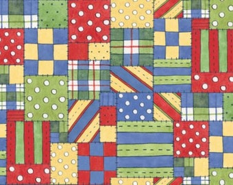 Patchwork Fabric, Red Fabric, Yellow Fabric, Blue Fabric, Block Fabric, Squares Black Fabric, Noahs Ark Patchwork, 1 Yard Fabric