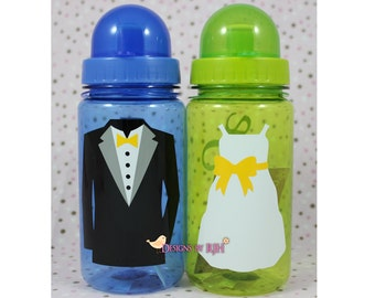 Personalized 15oz Sports Water Bottle - For Kids - Party Favors, Gifts - Fun Colors - Wedding Party Flower Girl Ring Bearer