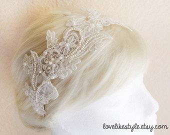 Light Gold Pearl Beading Lace Headband / Bridal Champagne  Headband, Light Gold Lace Head Piece