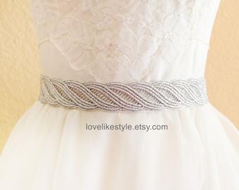 Silver  Metallic Lace with Gray Satin Sash , Bridal Sash, Bridesmaid Sash ,SH-31