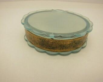 Vintage Henrietta Blue Lucite Compact Stash Box
