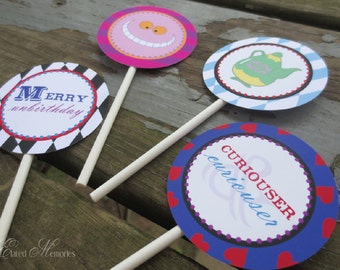Alice's Tea Party Printable Party Squares - DIY Cupcake Toppers - Alice In Wonderland Printable Party
