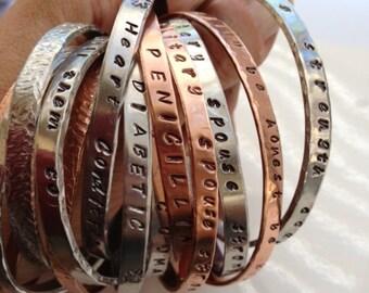 Personalized Cuff Bracelet - Copper, Aluminum, Steel, Silver or Sterling - Jewelry - Custom - Copper Cuff - Silver Cuff - Hand Stamped
