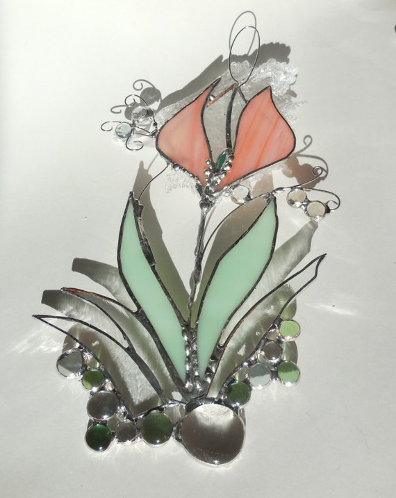 Pink Tulip. Stained Glass Suncatcher.
