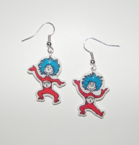 new dr suess thing 1 and thing 2 novelty earrings dr by