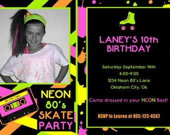 neon invitation  etsy, Party invitations