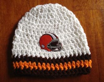 Cleveland Browns White Crochet Baby Beanie