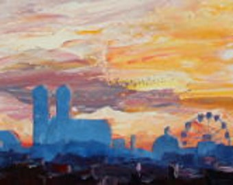 Munich Skyline with Wiesn and Octoberfest Alps Panorama at Sunset- Limited Edition Fine Art Print