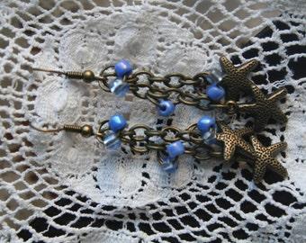 STARS - Pretty antique gold  earrings