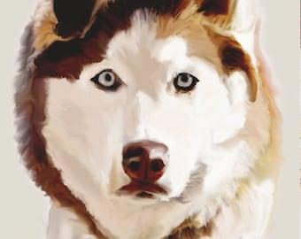 Custom Husky Dog Digital Painting
