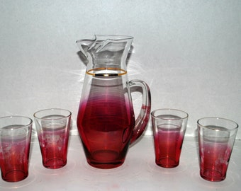 vintage pink and clear glass pitcher with 4 glasses  retro glass
