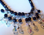 """Reserved Andrea: Vintage Crystal Necklace Choker Clear & Black Glass Dangling Beads Mid Century 16"""" VG"""