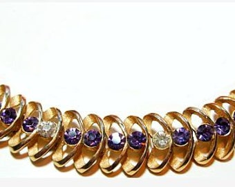"Crown Trifari Bracelet Purple Amethyst Clear Rhinestones Gold Metal Links 7"" 1940s Vintage"