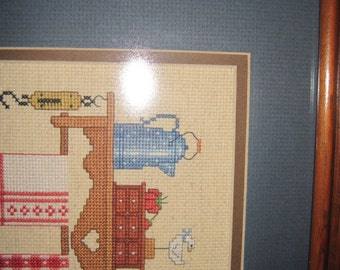 Vintage Primintive Country Sampler - Framed