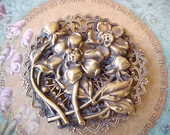 Large and Beautiful Old World Look Antique Floral Brooch with Renaissance Styling