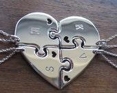 Four Piece Heart Best Friend Pendant Necklaces with Hearts