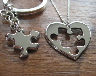 Best Friend Puzzle Keychain and Heart Necklace Pendant.