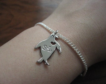 Silver Penguin Bracelet - Handmade Penguin Charm