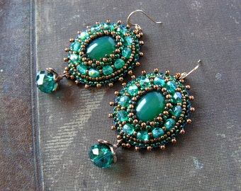 Emerald green Teal Earrings Beadwork Earrings Bead embroidery Earrings Green Copper Earrings Green Dangle Earrings Boho Ethic