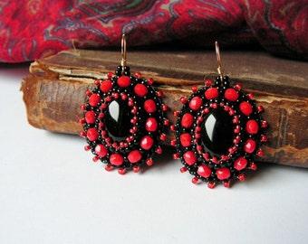 Black Red Earrings Bead emboidery Earrings Beadwork earrings Onyx Earrings Bead embroidery jewelry Black Red Dangle Earrings MADE TO ORDER