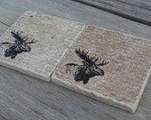 Set of 4 Rustic Moose Tumbled Marble Coasters