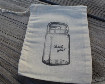 Set of 10 Hand stamped Mason Jar Thank You Wedding Muslin Party Favor Bags 100% organic made in america